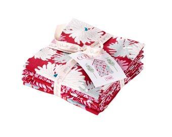 TILDA The Cottage Fabric Collection Fat Quarter Bundle (5fq's) in Red Manufacturer Cut