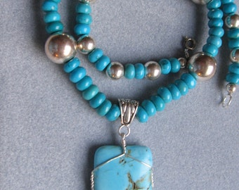 TURQUOISE AND VINTAGE SILVER BEADED NECKLACE