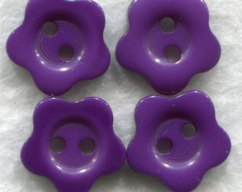 Purple Buttons Grape Purple Acrylic Flower Buttons 15mm (5/8 inch) Set of 12/BT171