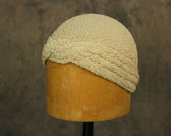 vintage 30s Turban Hat - 1930s Off White Silk Skull Cap Cloche Hat