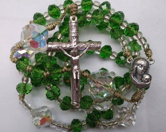Catholic rosary,green rosary,confirmation,first communion,rosaries,rosary beads,rosary made with cord