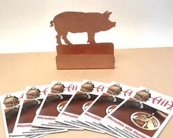 Pig Business Card Holder hog Copper Desk Accessory Pork gift lover Pig items pork gifts hogs swine porcine