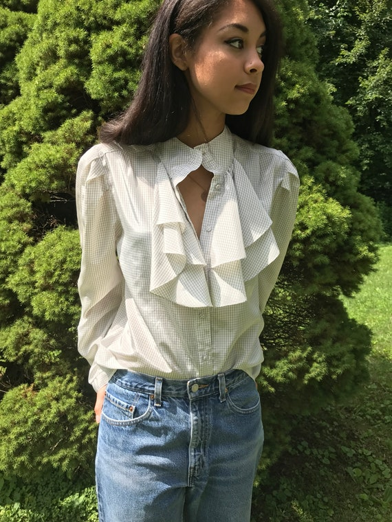 high neck ruffled blouse / Edwardian blouse / vintage / S /
