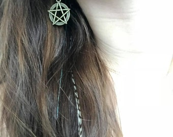 Amulets lucky star Bronze goddess Pagan Wicca Pentagram Pentacle earrings