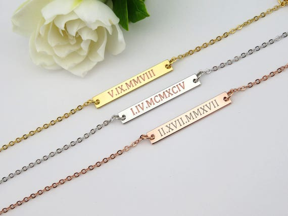 engraved aftcra bar necklace date jewelry gold naturelook wedding personalized listing custom filled