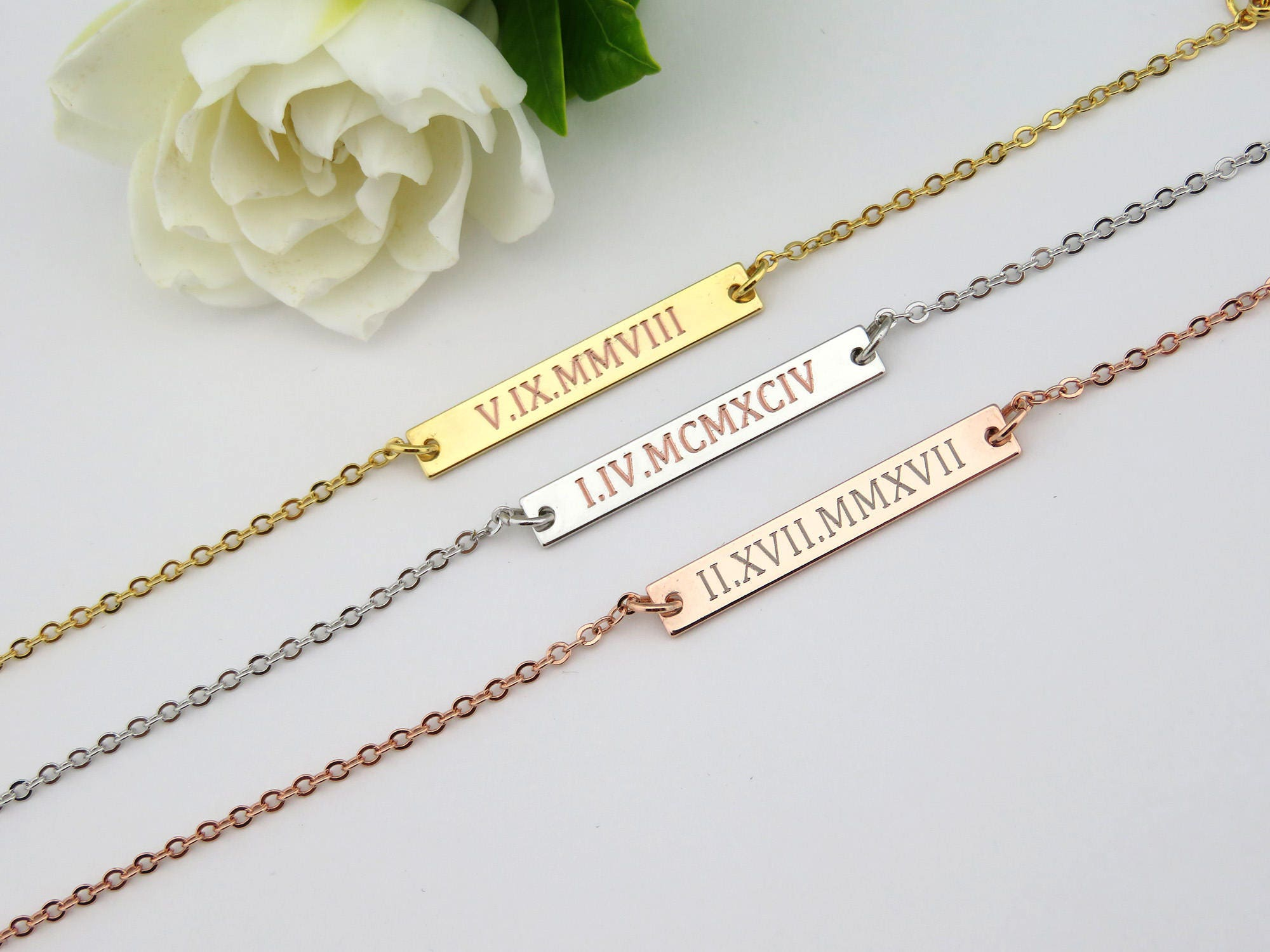 anniversary numeral jewelry from necklaces color wedding gold bar necklace item gift date in personalized roman for id men monogram chain women name