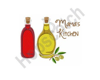 Mamas Kitchen - Machine Embroidery Design, Mama, Kitchen, Oil, Olive Oil