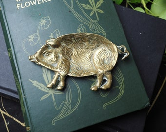 Wild Boar Offering Dish - Vintage or Antique Brass Bowl for a Pagan or Wiccan Altar, For Freya - Witchcraft, Magic