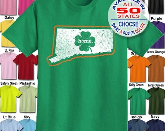 Connecticut Home State Irish Shamrock  T-Shirt - Adult Unisex - We carry sizes S - 5XL in 30 Colors!