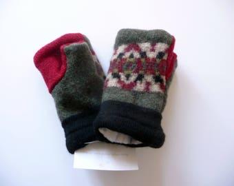 Recyled fingerless mittens, wool mittens, mittens