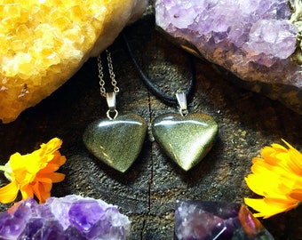Golden Sheen Obsidian Crystal Necklace