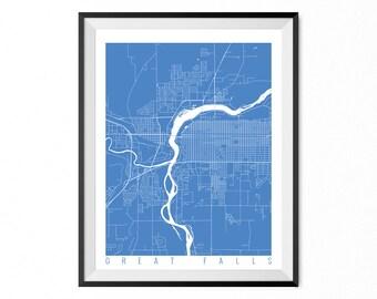 GREAT FALLS Map Art Print / Montana Poster / Great Falls Wall Art Decor / Choose Size and Color