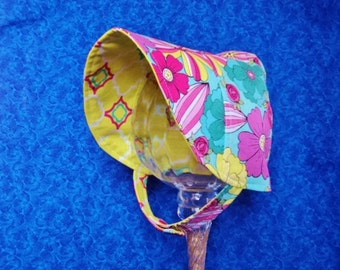 Turquoise Baby Bonnet with Pink and Yellow Flowers Bonnet with Chin Straps with Snaps  Reversible