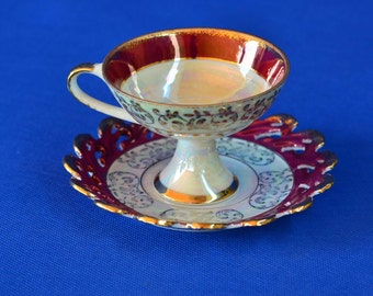 Vintage Royal Crown Tea Cup and Saucer with Iridescent Floral Design - Arnart Creations - Made in Japan