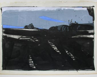 The Black Pictures, Dark Field, Original Landscape Collage Drawing on Paper, Stooshinoff
