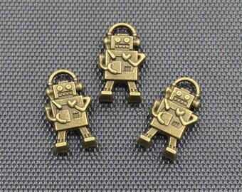 20pcs Robot Charms Antique Bronze Tone 10x17mm - BH294