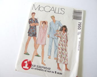 UNCUT Vintage 1990's Unisex One Hour Pajama Sleepwear Sewing Pattern, McCalls 7950,  Bust 32.5 to 40 Inches. Small, Medium, Large