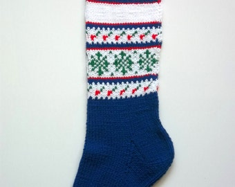 Snowflakes and Berries Royal Blue Hand-Knit Christmas Stocking