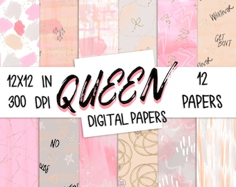 Queen  DIGITAL PAPER Modern Abstract Peach Pink Gold Bows Spring