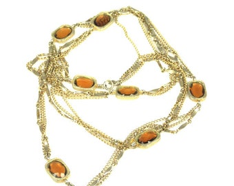Sarah Coventry Topaz Glass Necklace Golden Embers Flapper Length Necklace 50""