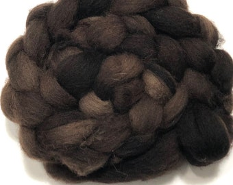 Hand dyed Cheviot wool top.  Great for handspun yarn and to felt. Semi solid/speckled 4oz. Braid. Fudge