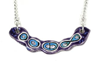 Mitosis Sparkle Surly Ceramic Necklace With Rhinestone Chain