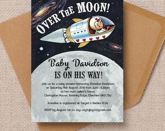 Personalised Space Themed  Baby Shower Invitation Cards