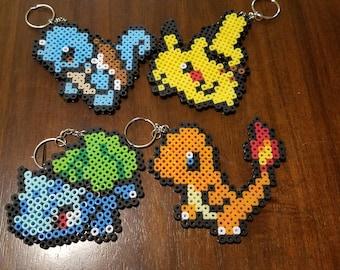 Perler bead Pokemon keychain |Pikachu\Bulbasaur\Charmander\Squirtle|