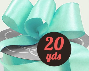 "Satin Light Aqua Ribbon - 7/8"" wide at 20 yards"