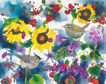 Titmouse and Wren in Garden Watercolor Painting, Song Bird and Sunflowers Fine Art Print