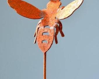 Honey Bee Garden Stake | Metal Bee Garden Art | Bumble Bee Decoration | Bee Planter Stake | Metal Yard Art | Garden Gifts | Bee Hive | P403