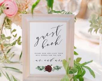 Guest Book Sign, Burgundy Floral, Wedding Guest Book, Sign For Guest Book
