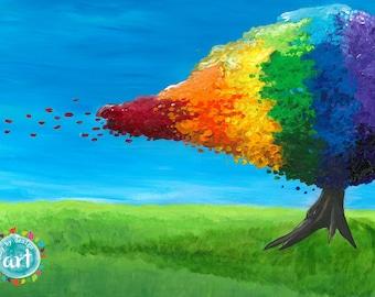 Rainbow Tree Art, Colorful Tree Art, Abstract Tree, Kids Room Decor, Original Abstract Painting, 11x14 Acrylic on Harboard