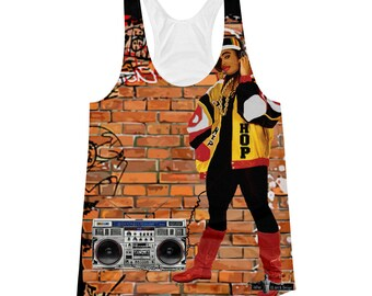 Hip Hop Womens Racerback Tank-Old School Rap-Afrocentric-Tank tops-tops and tees-Female Rapper-clothing-womens-90s rap-black music-boombox-r