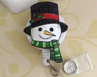 Rhinestone Snowman Retractable ID Badge Reel, Nurse Badge Reel