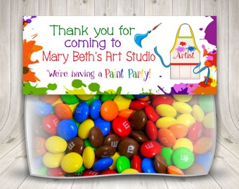 Paint Birthday Party, Artsy Party, Treat Bag Topper, Paint Splatter, Paint Party Favors, Art Party Ideas, Painting Art Party, Painting Theme