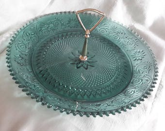 """Green 12"""" dessert tray with metal handle"""