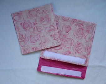 Fabric Snack Sandwich Bags Pink Roses Set