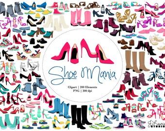 Shoe Clipart-Commercial Use-Digital Clip Art Shoes-High Heels-Fashion-Accessories-Transparent Background-PNG-Digital Scrapbook