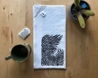 Fern Screen Printed Flour Sack Kitchen Tea Towel