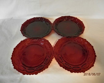 "Avon Red Cranberry Glass 7 1/2"" Set of 4 Salad Luncheon Plates 1876 Cape Cod Collection 1970's Vintage"