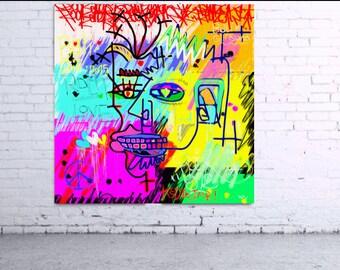 Painting modern colorful graffiti