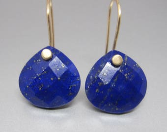 Faceted Lapis Lazuli Drops Solid 14k Gold Earrings