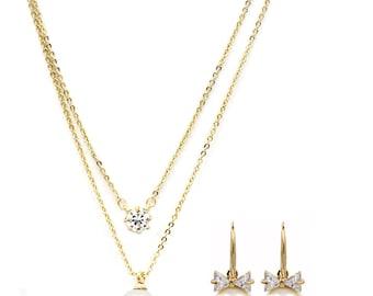 Elegant Pearl Necklace Earrings Set