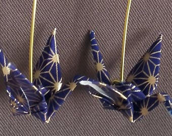 Origami crane Navy and gold star earrings