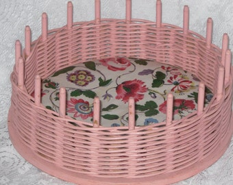 Wicker Wood Sewing Basket with Thread Pegs Pink Floral
