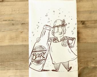 Beer Tea Towel - brewer dish towel - husband gift - dad gift - kitchen towel