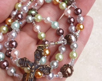Mary's Garden - Glass Pearl and Bronze Catholic Rosary by the Peaceful Bead  - pink purple green