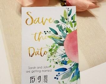 Save the Date floral elegant cards