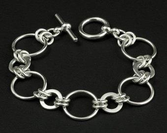 Sterling Silver Disc Link Bracelet - Silver Ring Link Bracelet - Circle Disc Bracelet - Chain Link Bracelet - Sterling Silver Link Bracelet